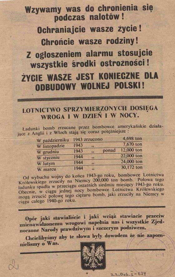 Fot. 6. Aliancka ulotka z 1944 roku. Źródło: I.Z. Dok I – 694