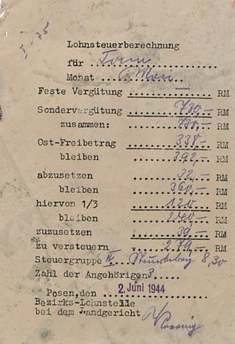 Fot. 1. Kwit z obciążeniami podatkowymi wystawiony na nazwisko Tonn. Źródło: I. Z. Dok. I – 75.