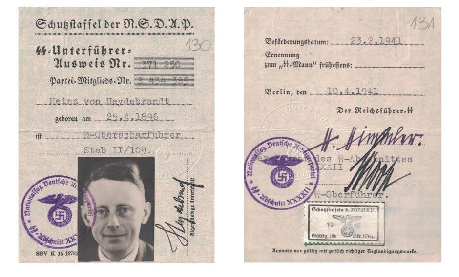 """Fot. 3. Legitymacja starszego sierżanta SS Heinza von Heydebranda. Źródło: I.Z. Dok I –833. Warto zwrócić uwagę, iż nazwisko """"Heydebrand"""" napisane zostało z błędem. Na rewersie legitymacji znajduje się faksymile podpisu Heinricha Himmlera, przywódcy SS."""