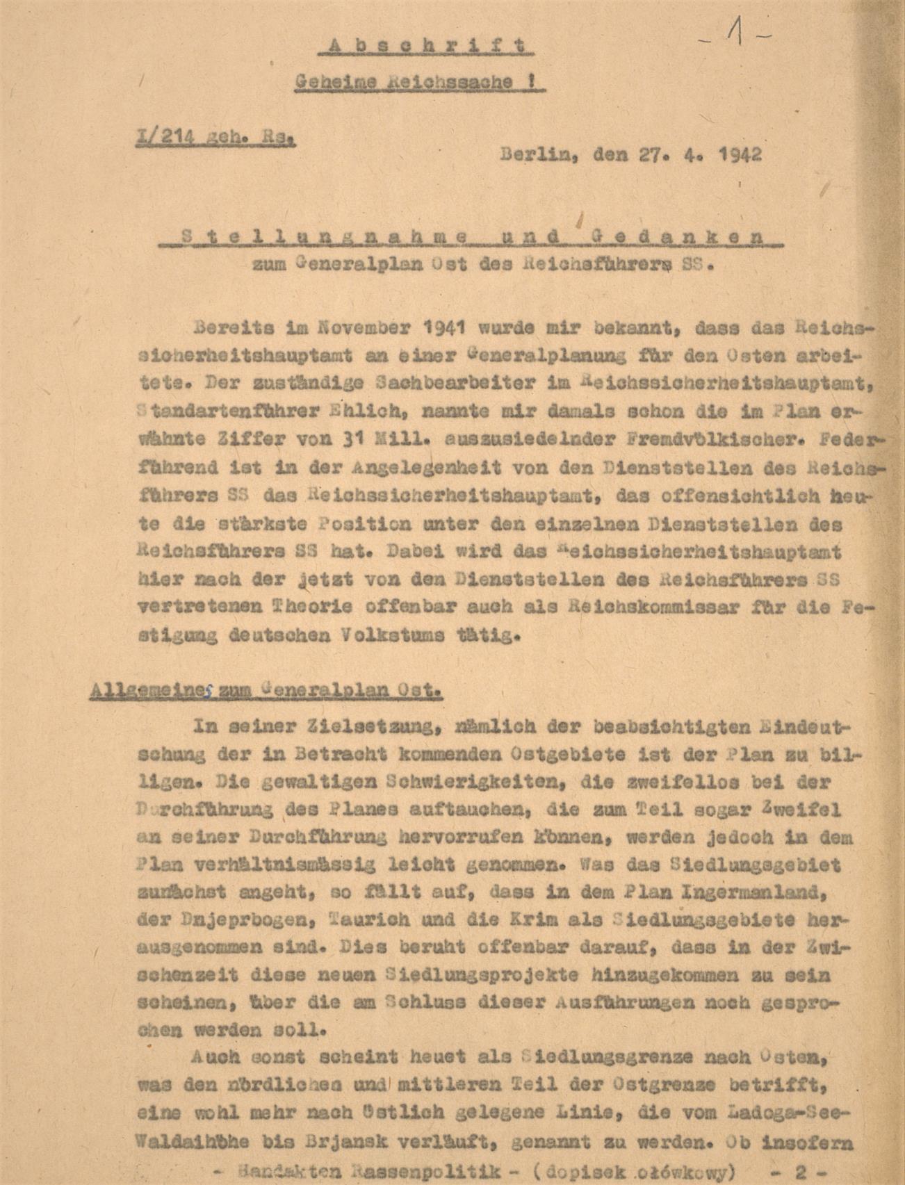 Fot. 1. Pierwsze dwie strony ekspertyzy dr. Erharda Wetzla. Źródło: I.Z. Dok. I-777.