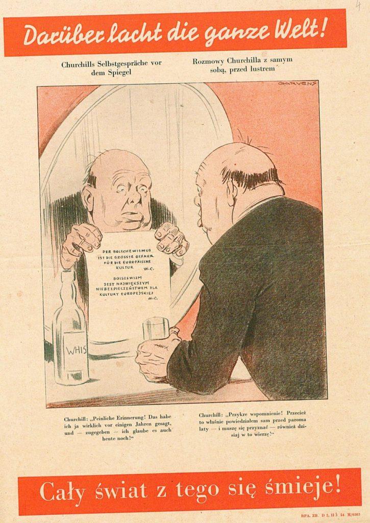"""Fot. 2. Plakat pt. """"Rozmowy Churchilla z samym sobą, przed lustrem"""". Źródło: I.Z. Dok. I – 255."""