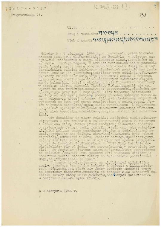 Fot. 3. Protokół z relacją z 20 sierpnia 1944 r., dane osobowe zostały zaszyfrowane.
