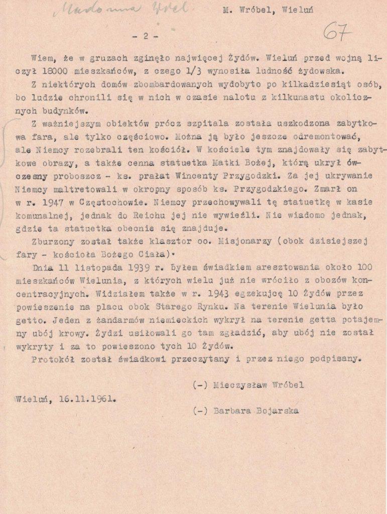 Fot. 6b. Relacja Mieczysława Wróbla. Źródło: I.Z. Dok. III – 100.