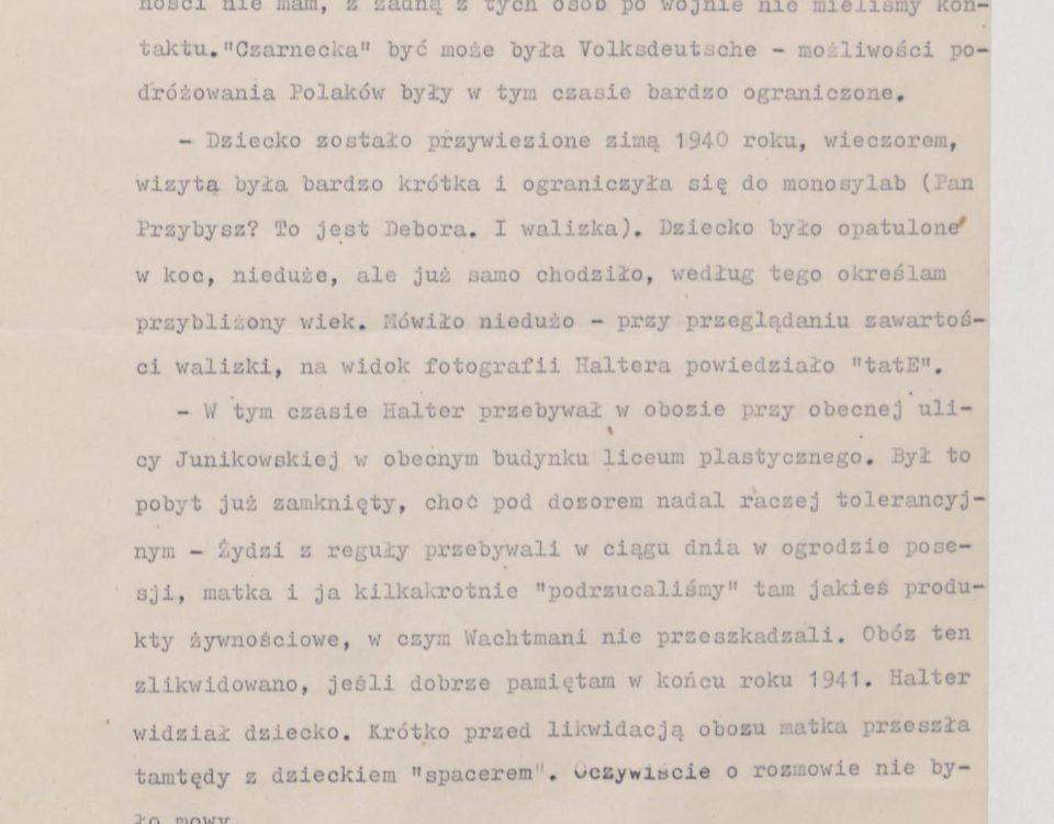 Fot. 1. Fragment wspomnień Janusza Przybysza z jego odręcznymi poprawkami. Źródło: I.Z. Dok. II – 464.
