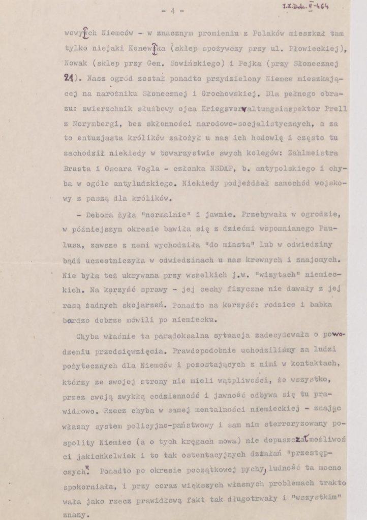 Fot. 1b. Fragment wspomnień Janusza Przybysza z jego odręcznymi poprawkami. Źródło: I.Z. Dok. II – 464.