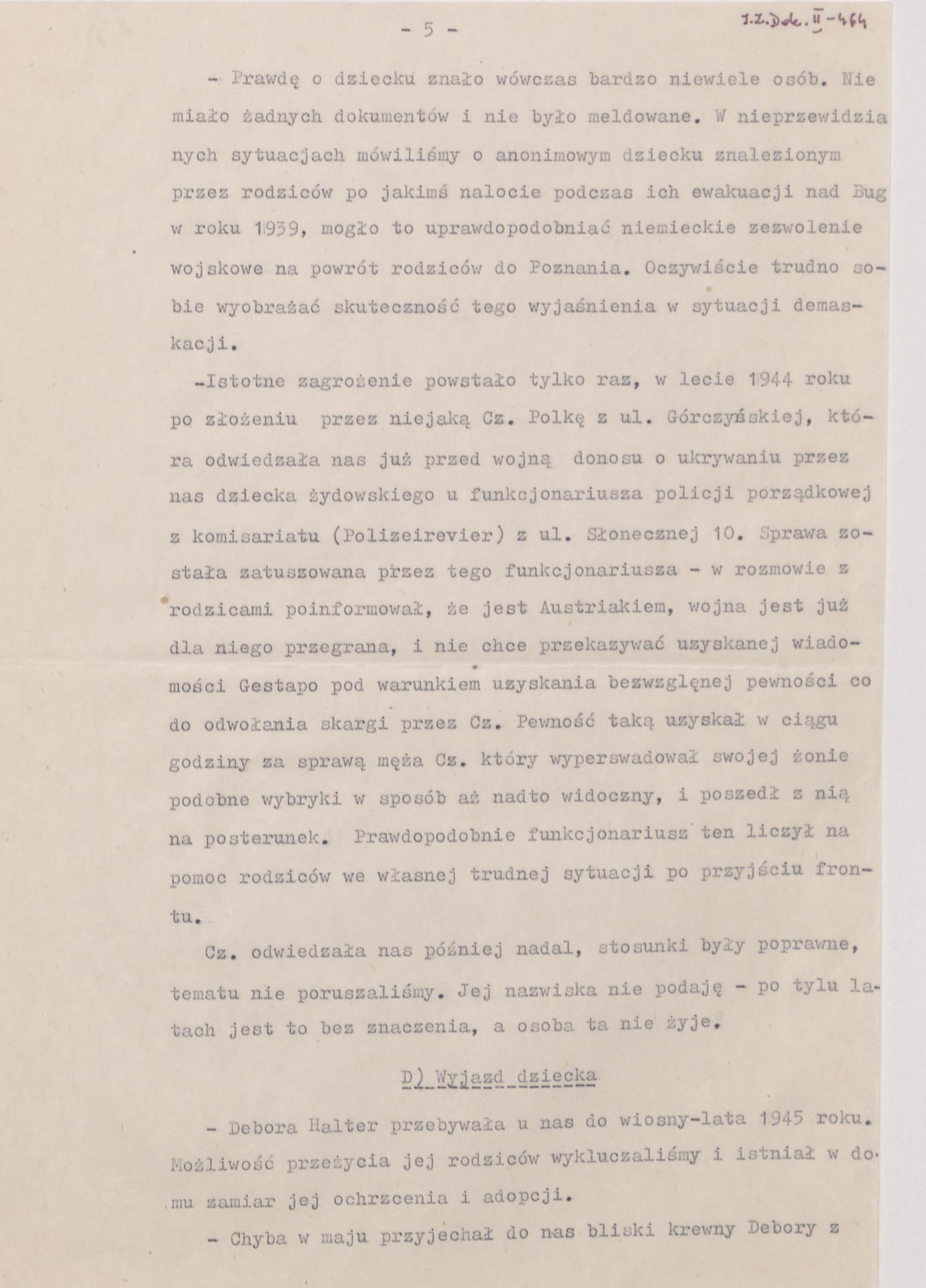 Fot. 1c. Fragment wspomnień Janusza Przybysza z jego odręcznymi poprawkami. Źródło: I.Z. Dok. II – 464.