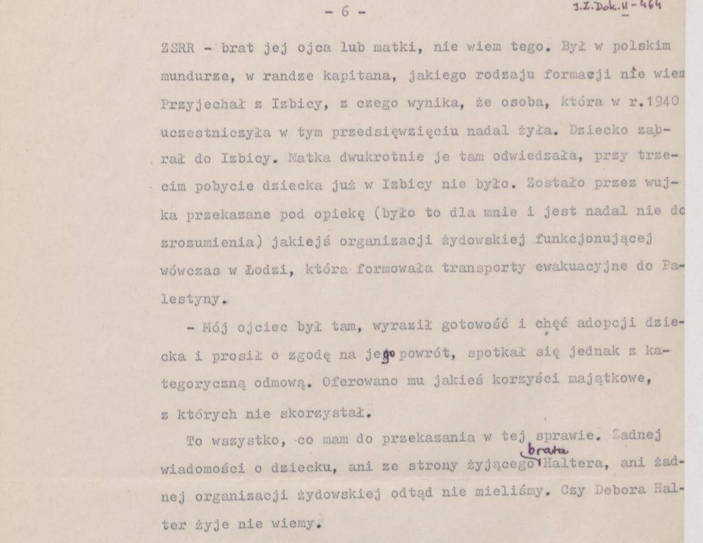 Fot. 1d. Fragment wspomnień Janusza Przybysza z jego odręcznymi poprawkami. Źródło: I.Z. Dok. II – 464.