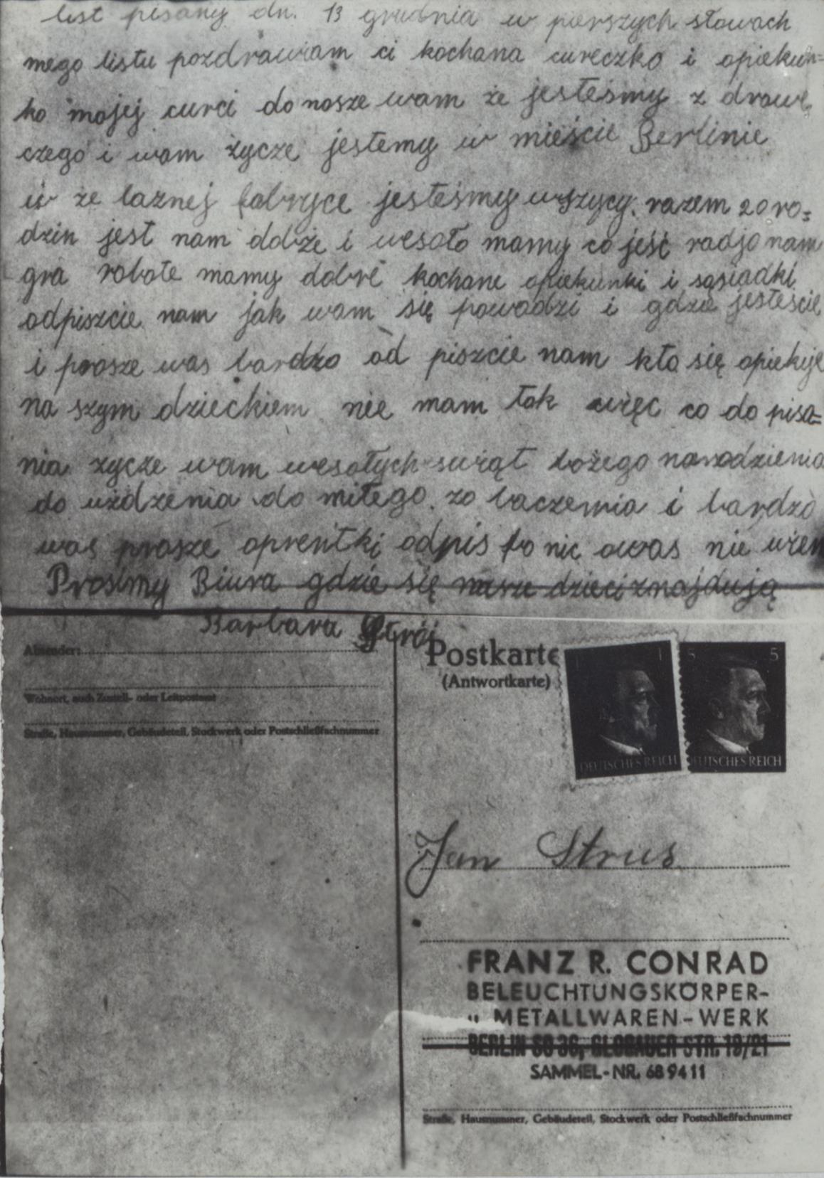 Fot. 3. Pocztówka Jan Strusia do córki. Źródło: I.Z.Dok. I-658.