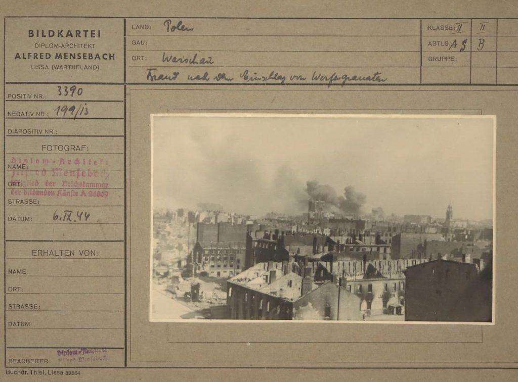 """Fot. 5. """"Pożar po eksplozji granatu"""". Źródło: I.Z. Dok. IV-112."""