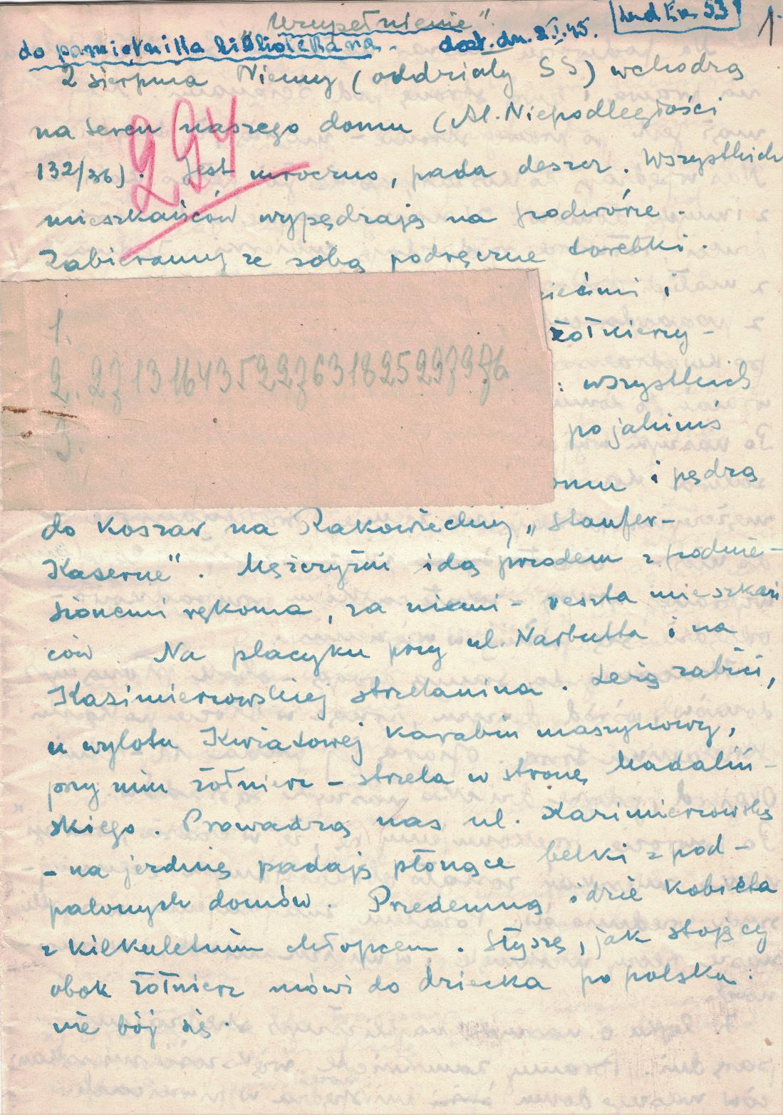 Fot. 3. Rękopis protokołu nr 294. Relacja złożona przez prof. Alodię Kawecką-Gryczową. Nazwisko było pierwotnie zaszyfrowane. Źródło: I.Z. Dok. V-223.