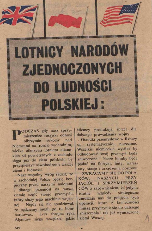 Fot. 5. Aliancka ulotka z 1944 roku. Źródło: I.Z. Dok I – 694