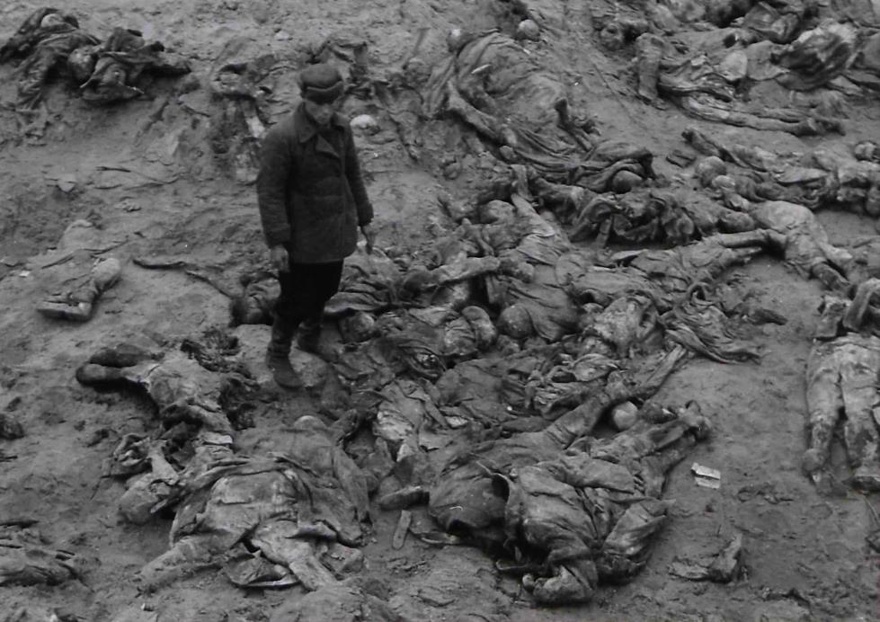 Fot 3. Miejscowy robotnik podczas prac ekshumacyjnych.