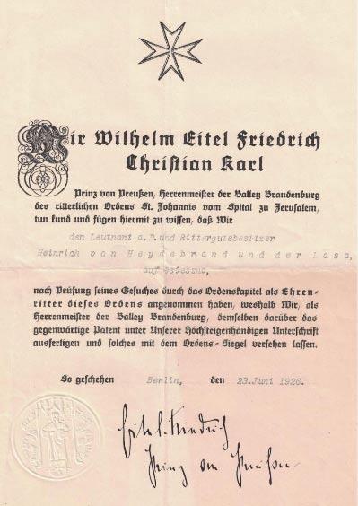 Fot. 1. Akt przyjęcia do Zakonu Joannitów. Źródło: I.Z. Dok I –833.