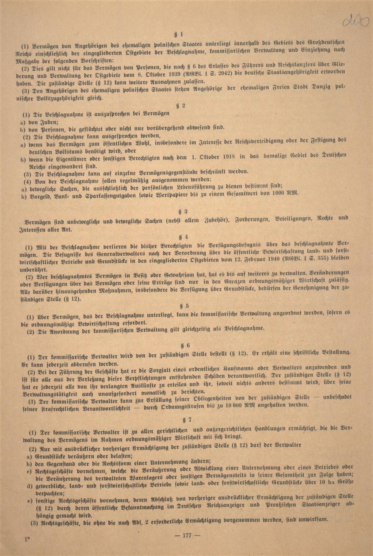 """Fot. 2b. Fragment rozporządzenia z 17 września 1940 r. zamieszczony w """"Dzienniku ob-wieszczeń HTO"""". Źródło: I. Z. Dok. I – 576."""