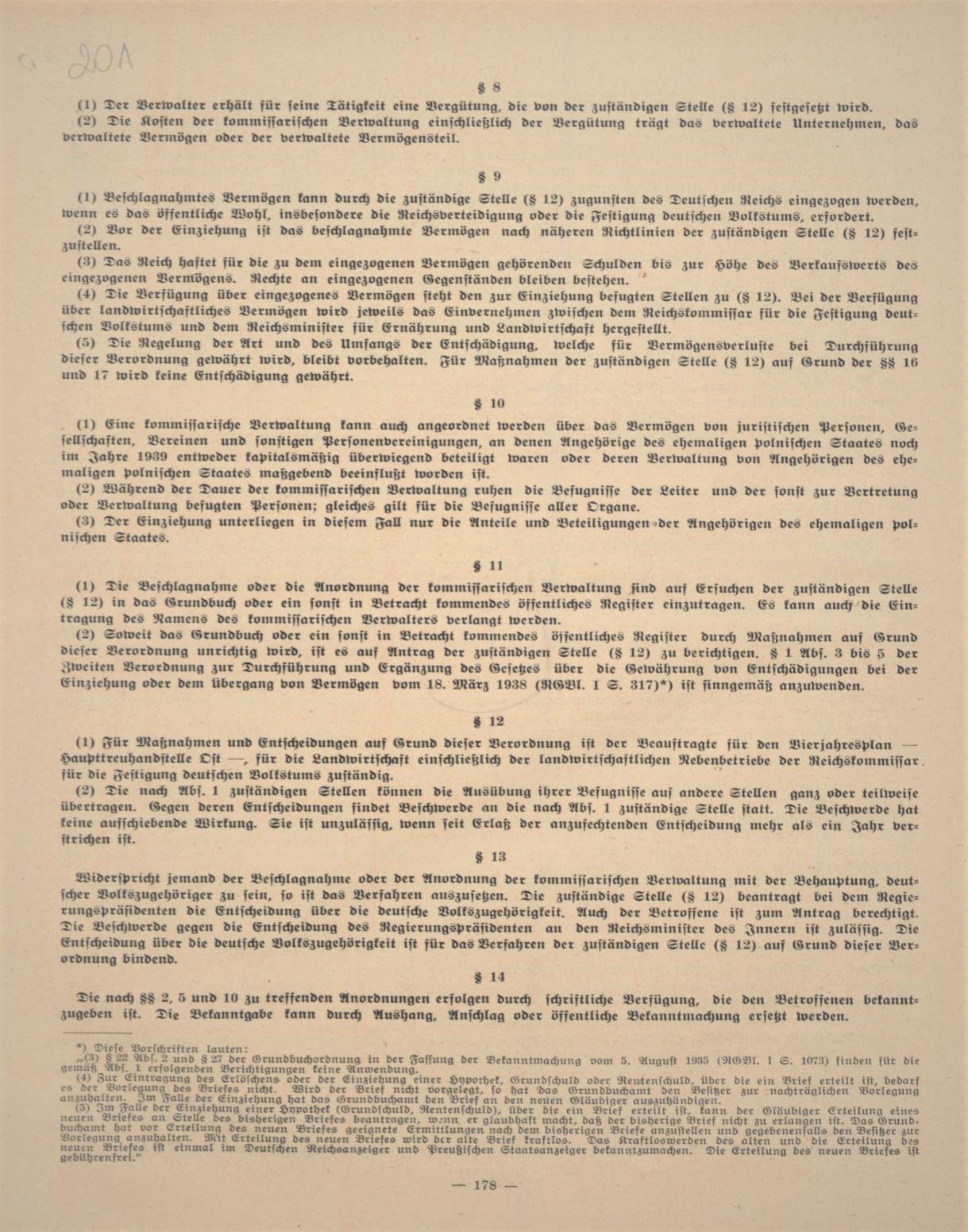 """Fot. 2c. Fragment rozporządzenia z 17 września 1940 r. zamieszczony w """"Dzienniku ob-wieszczeń HTO"""". Źródło: I. Z. Dok. I – 576."""