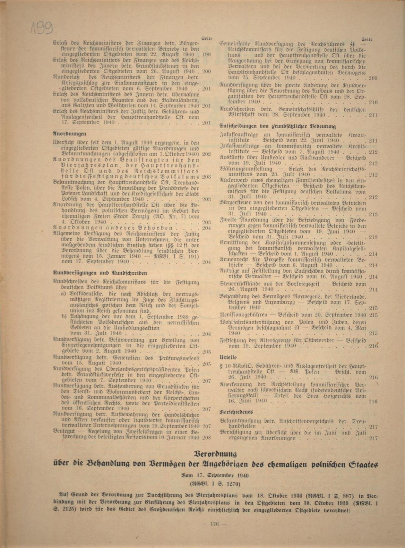 """Fot. 2. Fragment rozporządzenia z 17 września 1940 r. zamieszczony w """"Dzienniku ob-wieszczeń HTO"""". Źródło: I. Z. Dok. I – 576."""