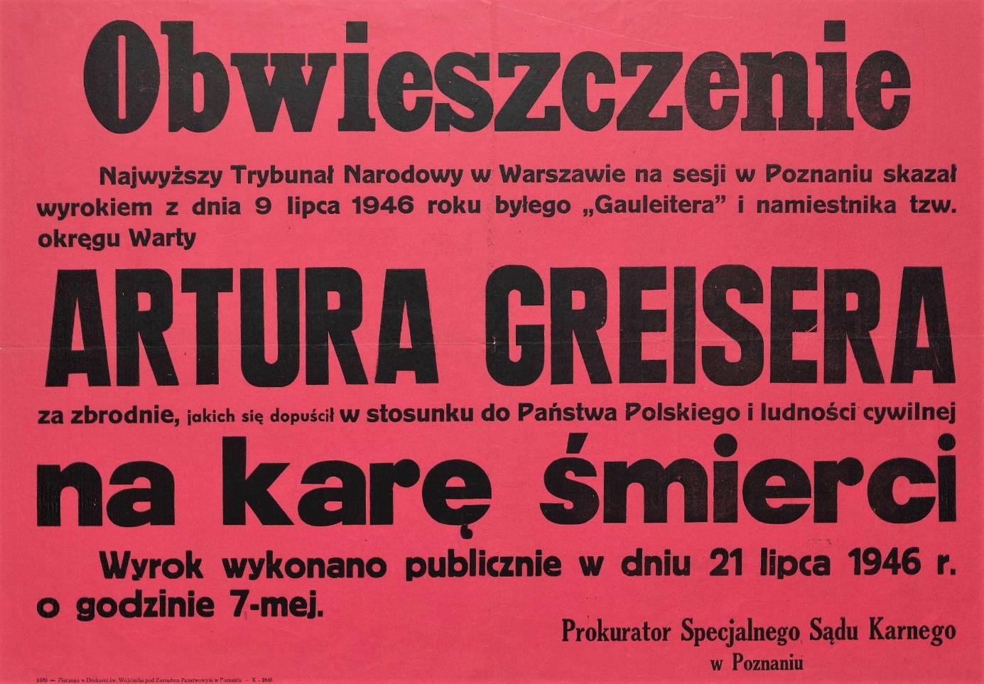 Fot. 2. Obwieszczenie o wykonaniu kary śmierci. Źródło: I.Z. Dok V – 30.