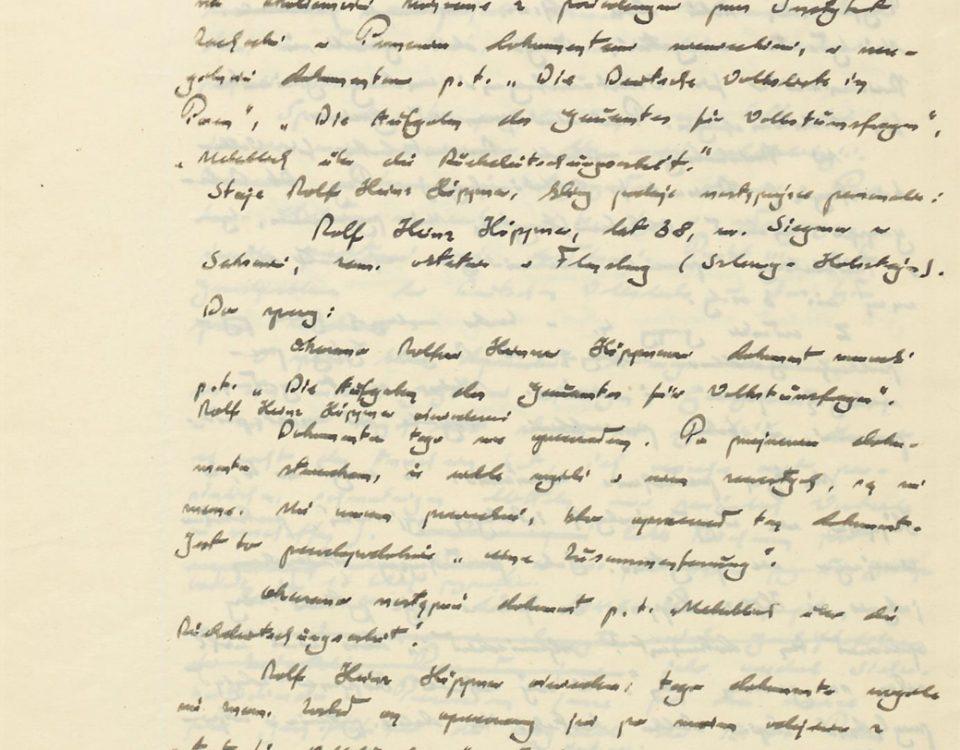 Fot. 1. Protokół z przesłuchania. Źródło: I.Z. Dok. III – 9.