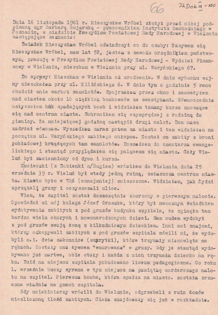Fot. 6. Relacja Mieczysława Wróbla. Źródło: I.Z. Dok. III – 100.