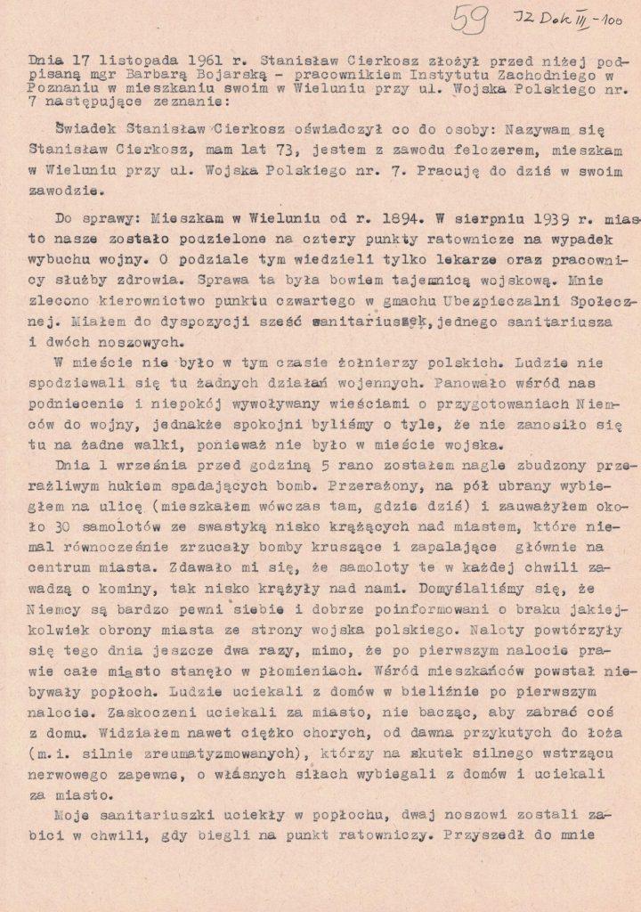 Fot. 5. Relacja Stanisława Cierkosza. Źródło: I.Z. Dok. III – 100.