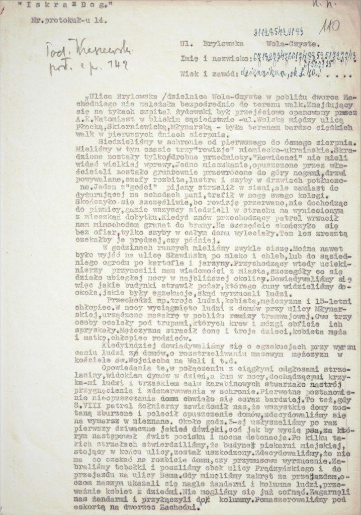 Fot.1. Maszynopis protokołu nr 14 z zaszyfrowanym imieniem i nazwiskiem. Źródło: I.Z. Dok. V-223.