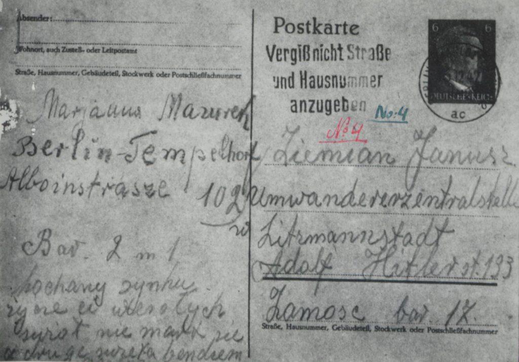 Fot. 1. Pierwsza strona kartki pocztowej pracownicy przymusowej Marianny Mazurek do syna. Źródło: I.Z.Dok.I-658.