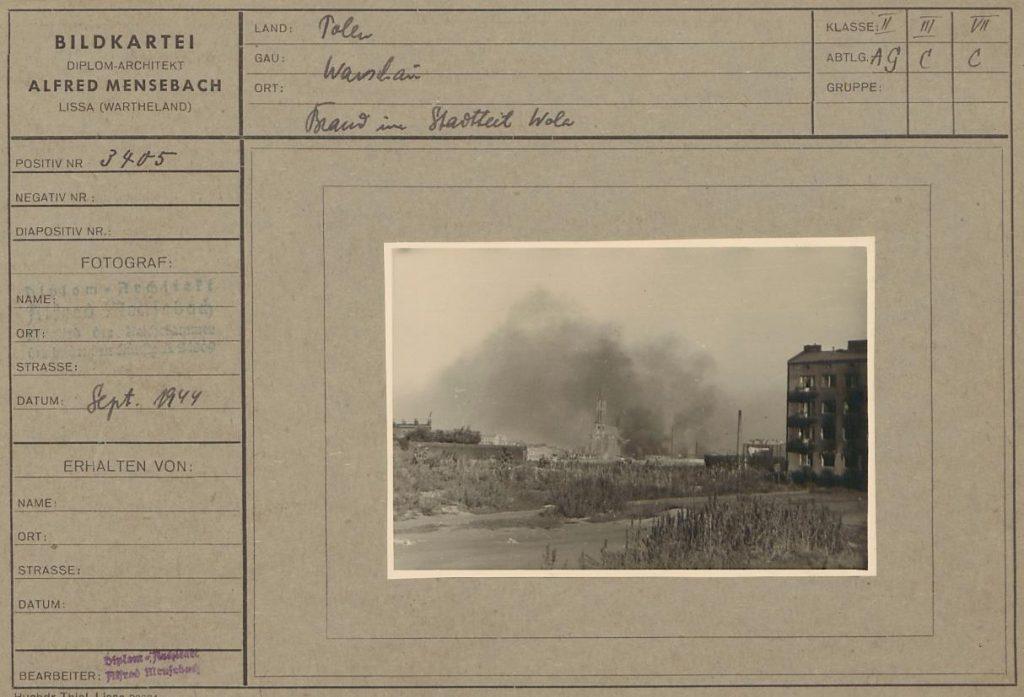 """Fot. 7. """"Pożar na Woli"""". Źródło: I.Z. Dok. IV-112."""