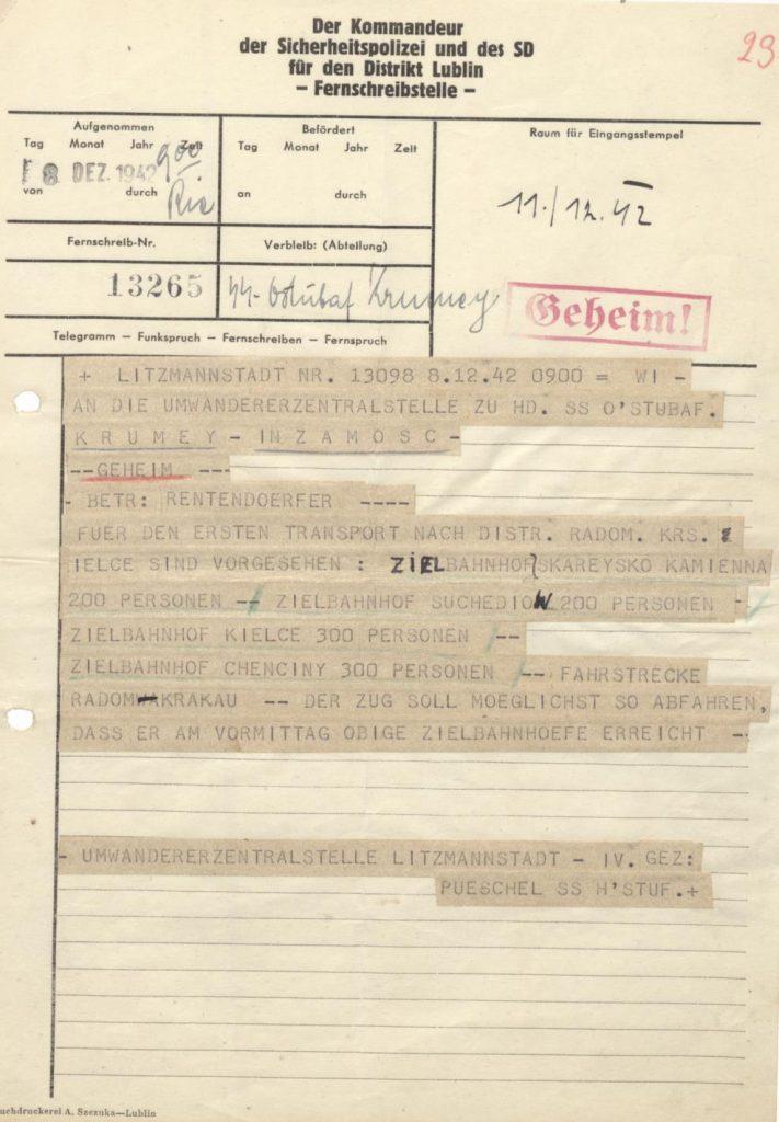 Fot. 4. Tajny telegram zaadresowany do H. Krumeya dotyczący pierwszych trans-portów do wiosek emeryckich w dystrykcie radomskim. Źródło: I.Z.Dok. I-573.